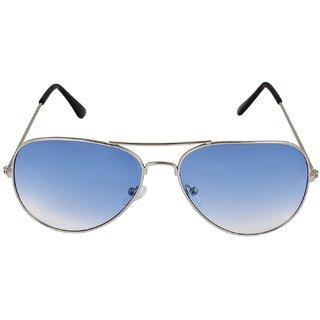 David Martin Silver Blue Aviators Sunglasses(UV Protected)(Medium Size)