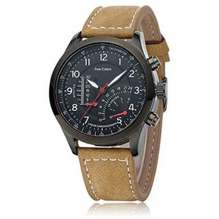 TRUE CHOICE NEW i DIVAS  Curren Mitter Brown Leather Strap Black Analog Dial Denim Watch Meter Design By 7Sstar