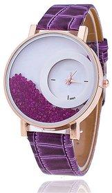 Zillion Movable Crush Diamond Purple Analog Watch For Women, Girls