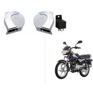 Autonity Chrome Trumpet Bike Horn Set Of 2 + Autonity Horn Relay -For  Bajaj CT100