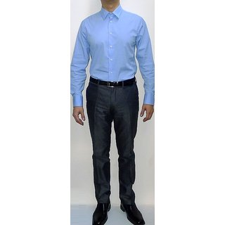 Gwalior Men's Executive sky blue Shirt  Black Color Trouser Fabric Combo