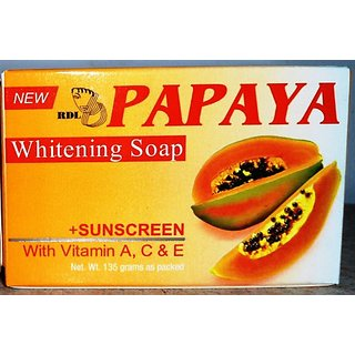 Original RDL Papaya Skin Whitening Soap plus Sunscreen w/ Vitamin A, C  E - 135 grams
