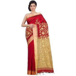 Le Soft Letest Design Handloom Worked Women's Cotton Saree with Blouse Piece (Red, Beige)