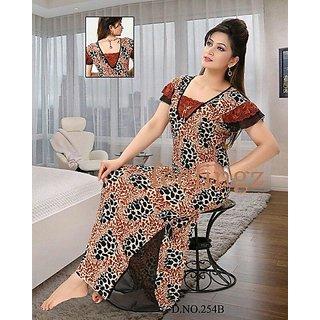 de29803553 Hot Sleep Wear Printed Nighty Women Bed Gown Lounge Wear Slip Fun 154B Maxi  New