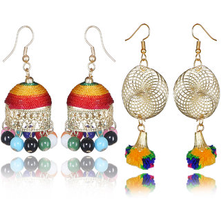 Meia Silver Plated Multicolor Alloy Jhumkis For Women