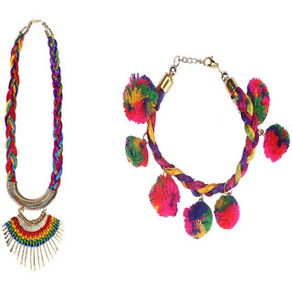 Meia Non Plated Multicolor Alloy Necklace Set For Women