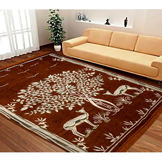 Manvi Creations Multicolor Nature And Floral Designer Chenille Carpet-set