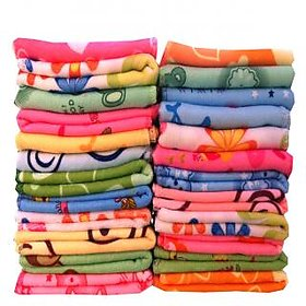 Flower Design Multi color Cotton Face Towel Set of 12 size (26x26cm)