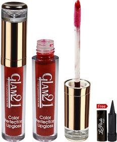 Glam21 Color Perfection Lipgloss F33 With Free Laperla Kajal