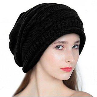 5f749662cdaa3 51%off Babji Black Slouchy woolen Long Beanie Cap For Men And Women