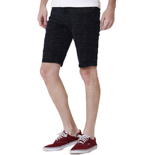 Kozzak Mens Slim Fit Dark Blue Denim Printed Bermuda Shorts