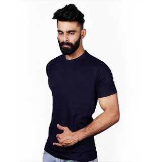 The Royal Swag Men's Cotton Summer  Tshirt-NAVY BLUE
