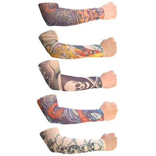 Tahiro Multicolour Cotton Tattoo Print Arm Sleeves - Pack Of 5