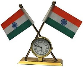 India Flag with Clock for Table/Car/Office