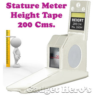 Gadget Heros Wall Mounted Height Measuring Scale Stature Meter 200cms/78inch/2M ( White )