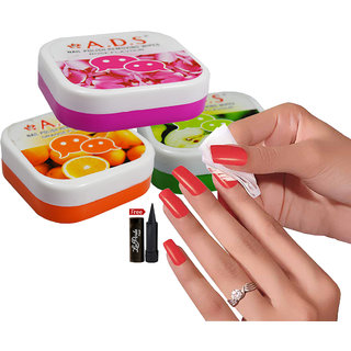 ADS A1666 Rose Green Apple Orange Nail Polish Removing Wipes Pack of 3PCs With Free LaPerla Kajal