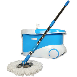 OptimCleanMagic Spin Mop 360 Degree Rotating Fast Spin Dry 2 Mop Heads