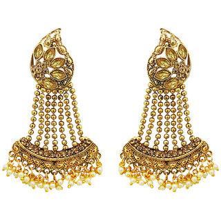 JewelMaze Brown Austrian Stone Gold Plated Dangler Earrings