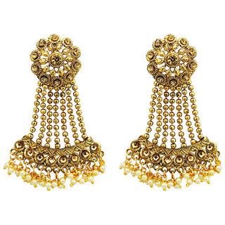 JewelMaze Gold Plated Brown Austrian Stone Dangler Earrings
