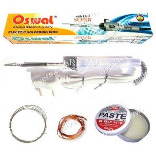 SOLDERING KIT-1 OSWAL Iron 25Watt 220V+Oswal Solder Flux+Wire+Desolder Wick
