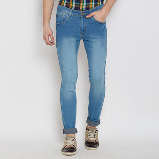 Stylox Premium Men's Stretchable Slim Fit Casual Wear Light Shaded Light Blue Jeans