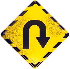 Happipress U Turn Metal Door Sign