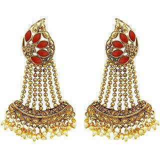 JewelMaze Gold Plated Maroon Kundan Stone Dangler Earrings