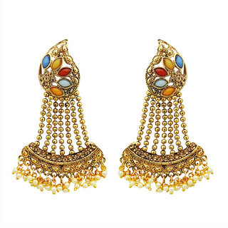 JewelMaze Multi Kundan Stone Gold Plated Dangler Earrings