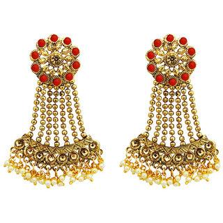 JewelMaze Red Kundan Stone Gold Plated Dangler Earrings
