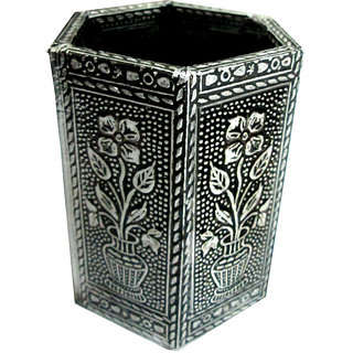 Handmade decorative Wooden Pen-stand - Oxodised silver color