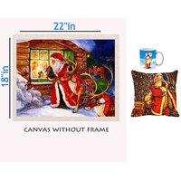 Mesleep Merry Christmas Canvas Painting Without Frame,Cushion Cover & Mug Combo - 14
