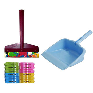 Combo- Dustpan with Plastic Clip and Kitchen Wiper