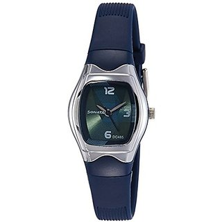 Sonata Quartz Blue Tonneau Women Watch 8989PP02
