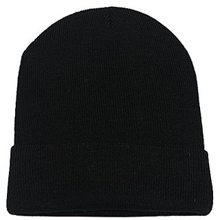Pack of 2 Attracon Winter Cap Free Size For Men and Women Black