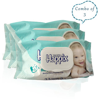 Happix Combo of 3 Baby Skin care Wet wipes-72pcs pack