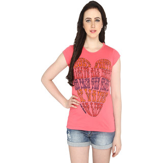 P-Nut Womens Pink Printed Cotton T-shirt