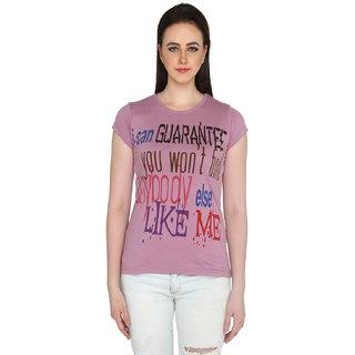 P-Nut Womens Pink Regular Fit Cotton T-shirt