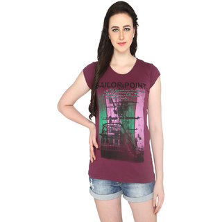 P-Nut Womens Brown Cotton T-shirt