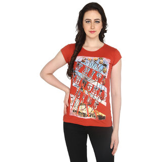 P-Nut Womens Orange Printed Cotton T-shirt
