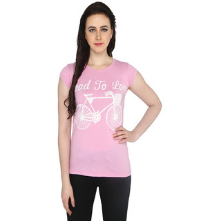 P-Nut Womens Printed Pink Cotton T-shirt