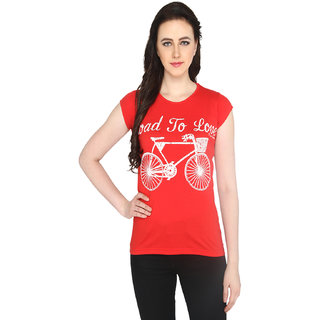 P-Nut Womens Printed Red Cotton T-shirt