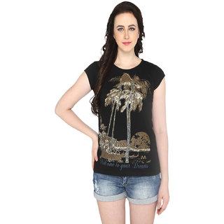 P-Nut Womens Black Printed Cotton T-shirt
