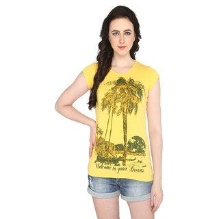 P-Nut Womens Yellow Printed Cotton T-shirt