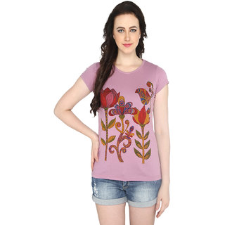 P-Nut Womens Pink Floral Printed Cotton T-shirt
