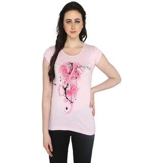 P-Nut Womens Light Pink Printed Cotton T-shirt