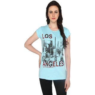P-Nut Womens Sky Blue Cotton Printed T-shirt