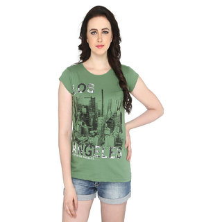P-Nut Womens Green Printed Cotton T-shirt