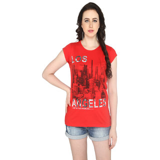 P-Nut Womens Red Printed Cotton T-shirt