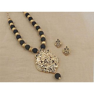 Firstloot Temple Necklace Set In Black And Gold Colour - PES31