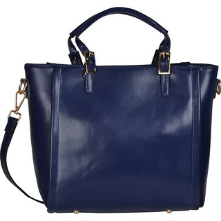 Fiona Trends Blue PU Zipper Hand Held Bag